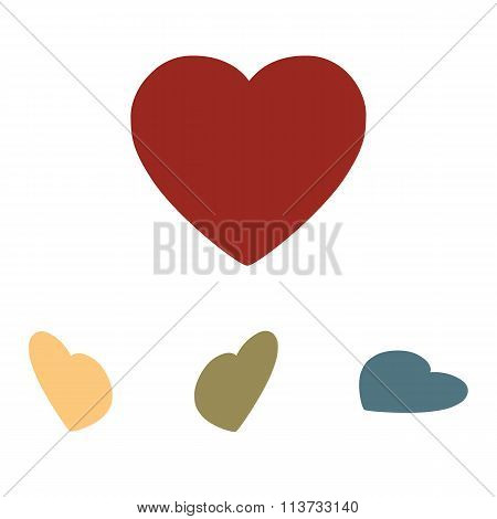 Vector heart icon set. Isometric effect