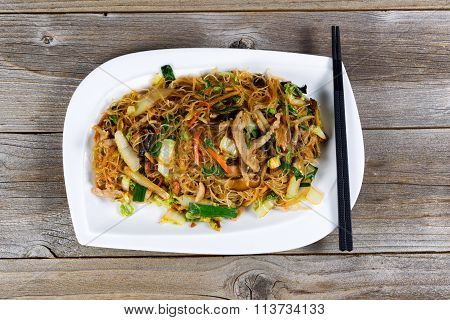 Chicken With Rice Noodles Dish Ready To Eat