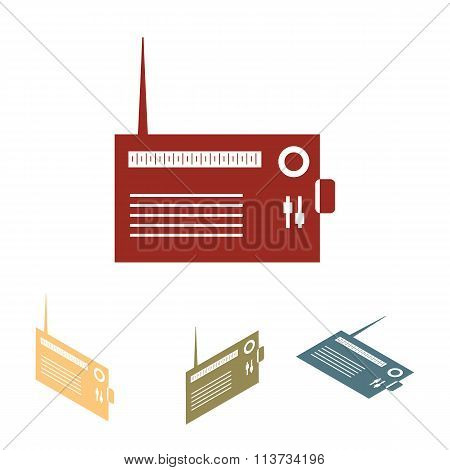 Radio silhouette. vector icon  set.
