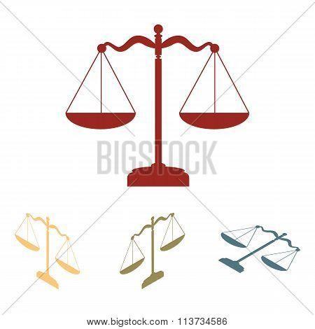 Scales balance icon. Vector illustration set.