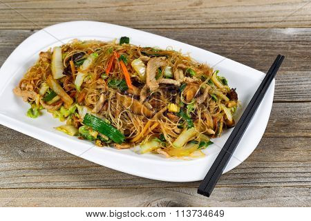 Rice Noodle And Chicken Dish Ready To Eat