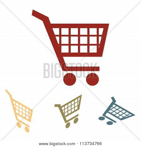 Shopping cart icons for online purchases- vector set.