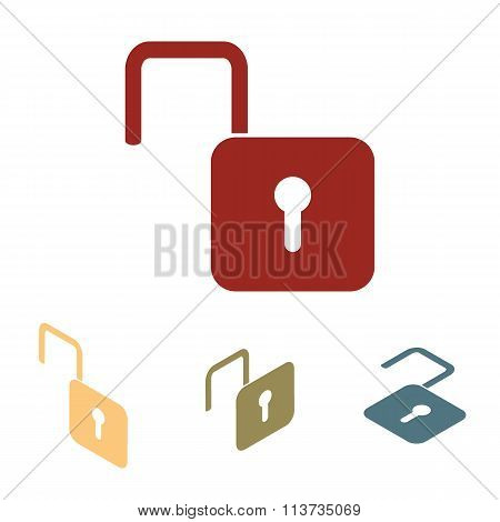 Unlock icon - vector illustration  set. Isometric effect