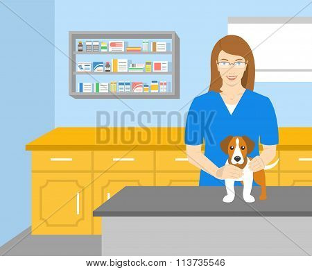 Woman Veterinarian Holding A Dog In Veterinary Office
