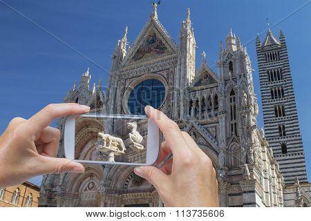 Taking Picture Of Cathedral In Siena (italy)