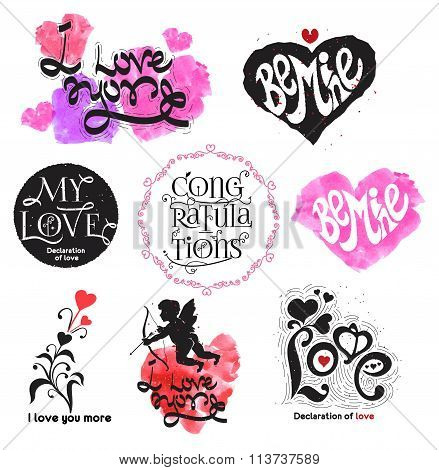 Vintage love logo. Love the calligraphy sign. Romance logo.