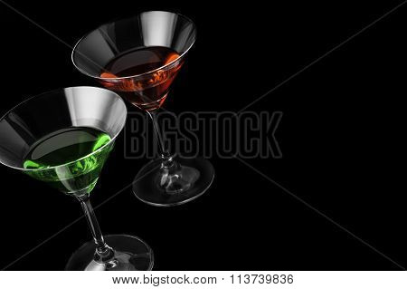 Martini glasses on black background in horizontal format