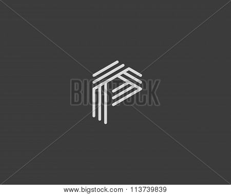 Abstract letter P logo design template. Line creative sign. Universal vector icon.