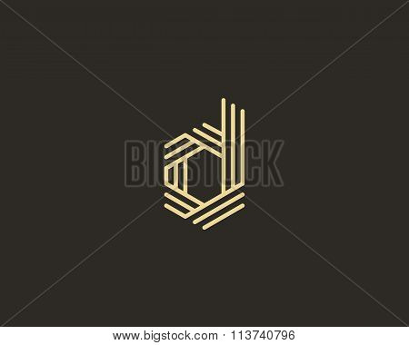 Abstract letter D logo design template. Line creative sign. Universal vector icon.
