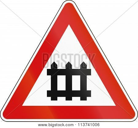 Road Sign Used In Italy - Rail Road Crossing With Barrier