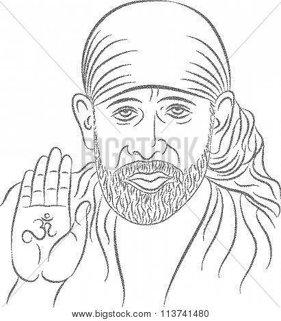 Shirdi Sai Baba Stipple Effect Vector Illustration