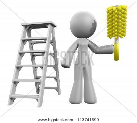 3D Lady Renovation Cleaner, Ladder And Duster