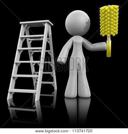 3D Lady Renovation Cleaner, Ladder And Duster, On Dark
