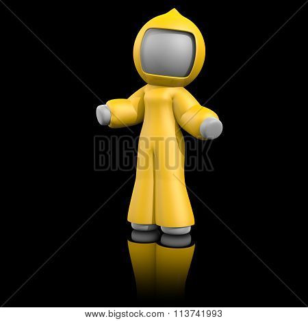 Yellow Bio Hazard Suit, 3D Lady