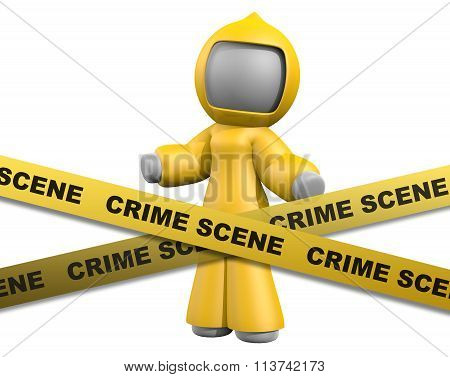 3D Lady Behind Crime Scene Tape Wearing Biohazard Suit.