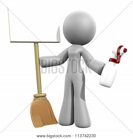 3D Lady Sign - Cleaning Services