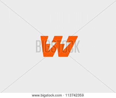 Abstract letter W logo. Dynamic unusual font. Universal fast speed fire moving quick energy icon. Fl