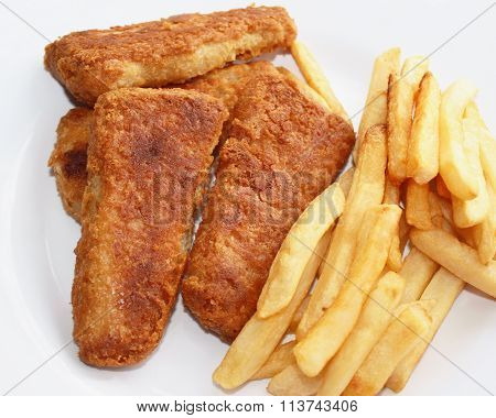 Oven baked Fish Sticks with baked French Fries cooked to a golden brown