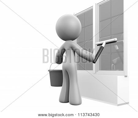 3D Lady Squeegee Window Cleaning