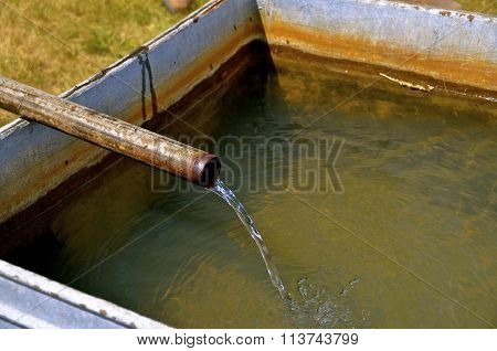 Well water pours into stock tank
