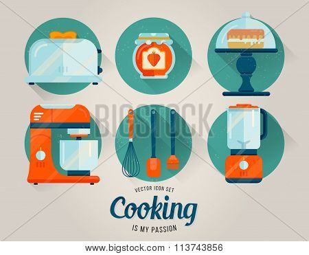 Vector set of kitchenware icon. Cooking illustration. Flat style. Kitchen collection
