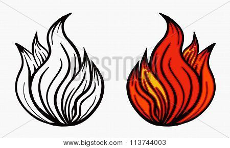 Fire Icon Vector. Spurts of flame in black white and red. Vector illustration.