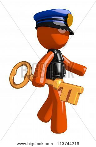 Orange Man Police Officer Walking With Gold Key