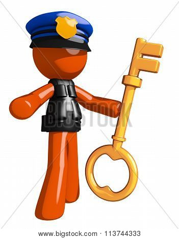Orange Man Police Officer Holding Key