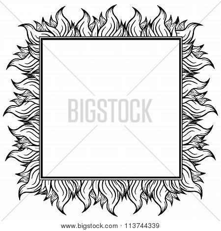 Black white squared frame with spurts of flame. Vector illustration.