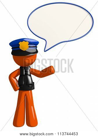 Orange Man Police Officer Word Bubble