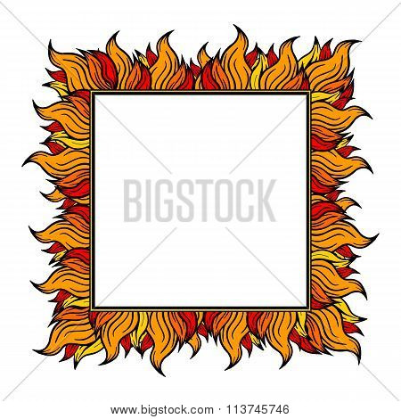 Squared frame with spurts of flame. Vector illustration.