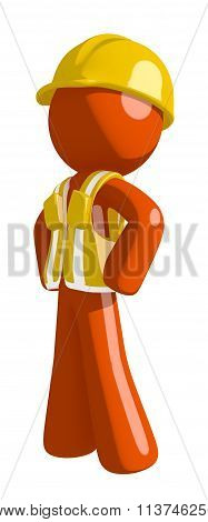 Orange Man Construction Worker  Hero Stance