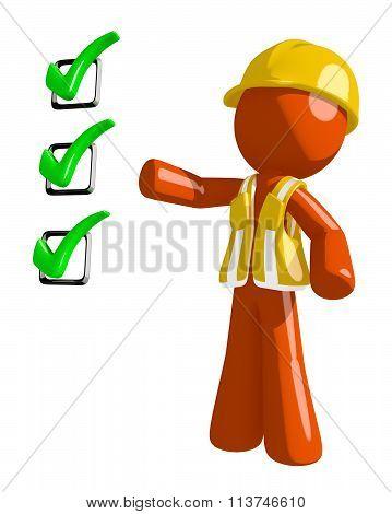 Orange Man Construction Worker  Pointing Green Checkmark List