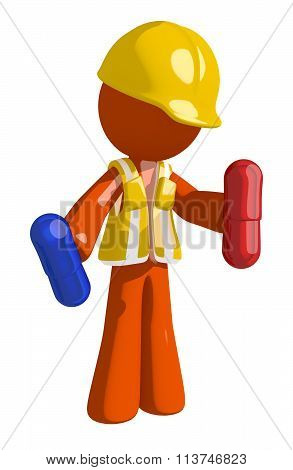 Orange Man Construction Worker  Holding Pills