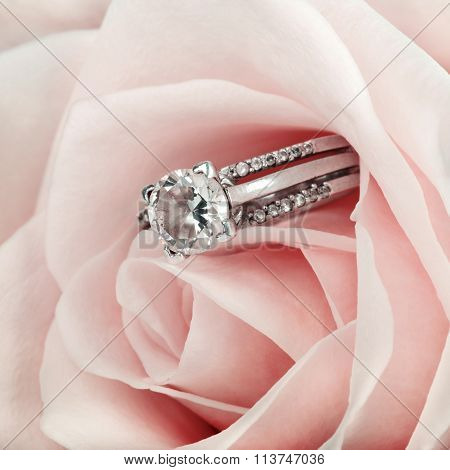 Pink Rose And Diamond Ring Nestled Inside. Macro Closeup