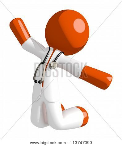 Orange Man Doctor Jumping Or Kneeling
