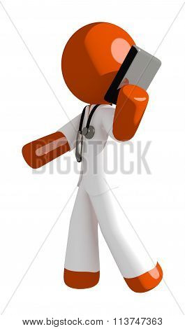Orange Man Doctor Talking On Pda Phone
