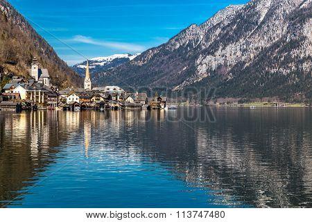 Hallstatt Village And Lake In Alps -austria,europe