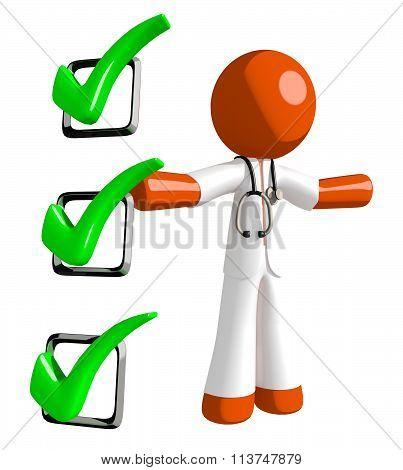 Orange Man Doctor Presenting Green Checkmark List
