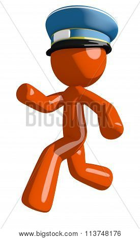 Orange Man Postal Mail Worker  Running Or Chasing Or Escaping