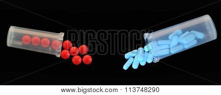 Open Container with red and blue pills
