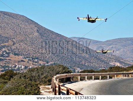 Two Greece Fire Protection Aircraft Bombardier 415