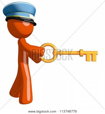 Orange Man Postal Mail Worker Inserting Key