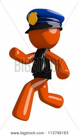 Orange Man Police Officer Running Or Chasing Or Escaping