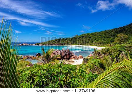 Beautiful Anse Cocos Beach on La Digue island, Seychelles