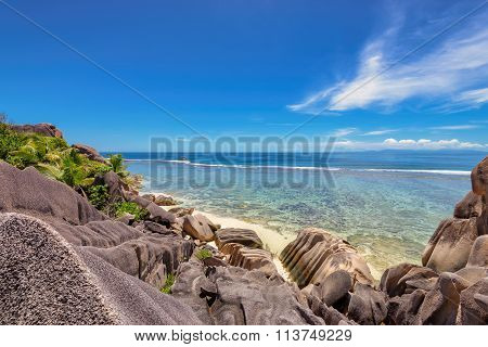 Rocks at beach on island La Digue in Seychelles
