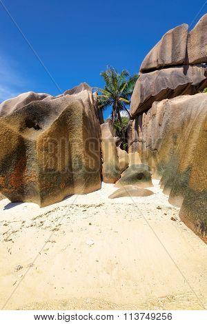 beautiful rocks on the beach of the La Digue island, Seychelles