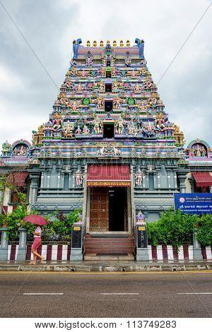 MAHE, SEYCHELLES - NOVEMBER 13 2015: Hindu temple in Victoria, Mahe, Seychelles