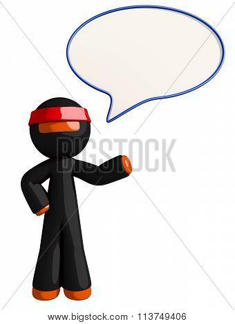 Orange Man Ninja Warrior Ninja Word Bubble