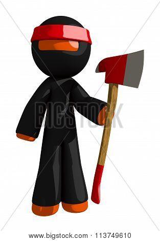 Orange Man Ninja Warrior Posing With Ax
